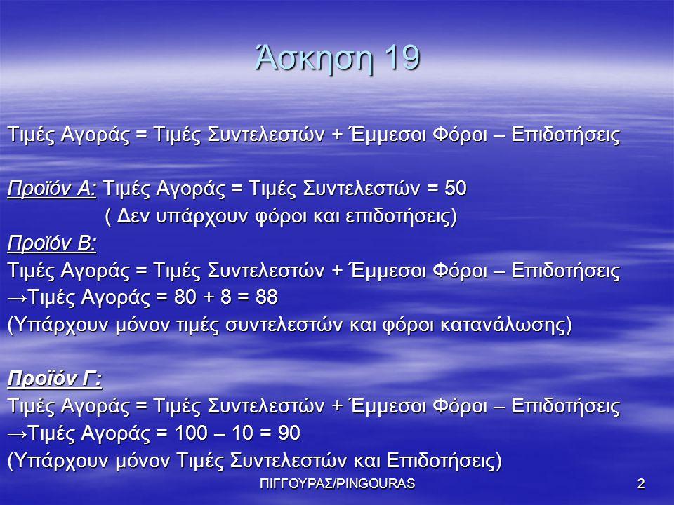 ΠΙΓΓΟΥΡΑΣ/PINGOURAS3 Άσκηση 20 Καθαρό Εγχώριο Εισόδημα σε Τ.