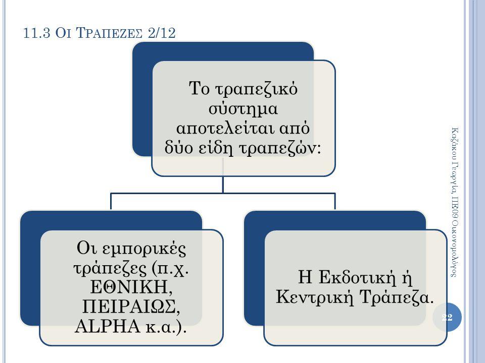 11.3 Ο Ι Τ ΡΑΠΕΖΕΣ 2/12 Το τραπεζικό σύστημα αποτελείται από δύο είδη τραπεζών: Οι εμπορικές τράπεζες (π.χ. ΕΘΝΙΚΗ, ΠΕΙΡΑΙΩΣ, ALPHA κ.α.). Η Εκδοτική