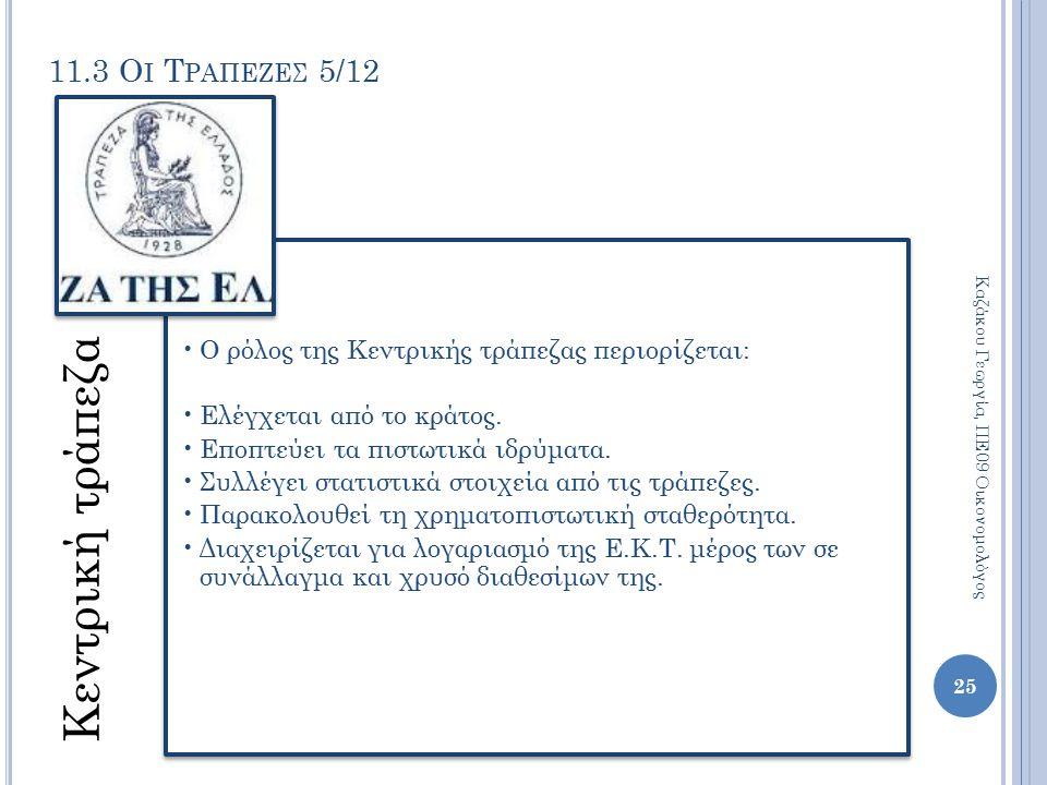 11.3 Ο Ι Τ ΡΑΠΕΖΕΣ 5/12 Κεντρική τράπεζα Ο ρόλος της Κεντρικής τράπεζας περιορίζεται: Ελέγχεται από το κράτος. Εποπτεύει τα πιστωτικά ιδρύματα. Συλλέγ