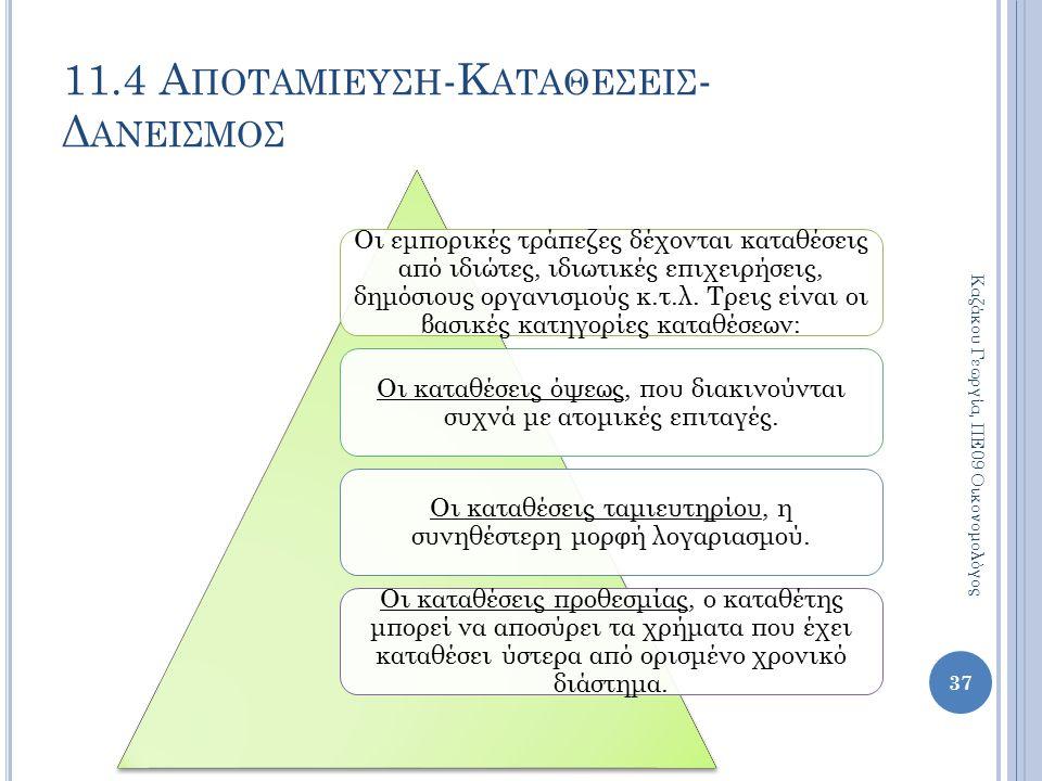 11.4 Α ΠΟΤΑΜΙΕΥΣΗ -Κ ΑΤΑΘΕΣΕΙΣ - Δ ΑΝΕΙΣΜΟΣ 37 Καζάκου Γεωργία, ΠΕ09 Οικονομολόγος Οι εμπορικές τράπεζες δέχονται καταθέσεις από ιδιώτες, ιδιωτικές επ