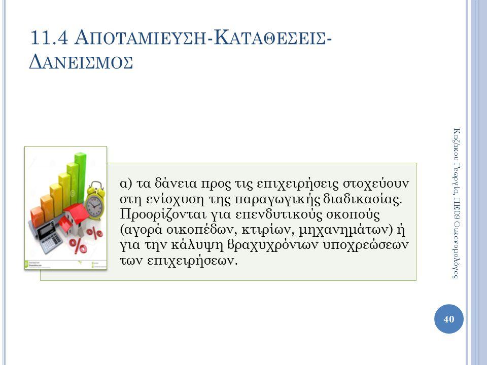 11.4 Α ΠΟΤΑΜΙΕΥΣΗ -Κ ΑΤΑΘΕΣΕΙΣ - Δ ΑΝΕΙΣΜΟΣ 40 Καζάκου Γεωργία, ΠΕ09 Οικονομολόγος α) τα δάνεια προς τις επιχειρήσεις στοχεύουν στη ενίσχυση της παραγ