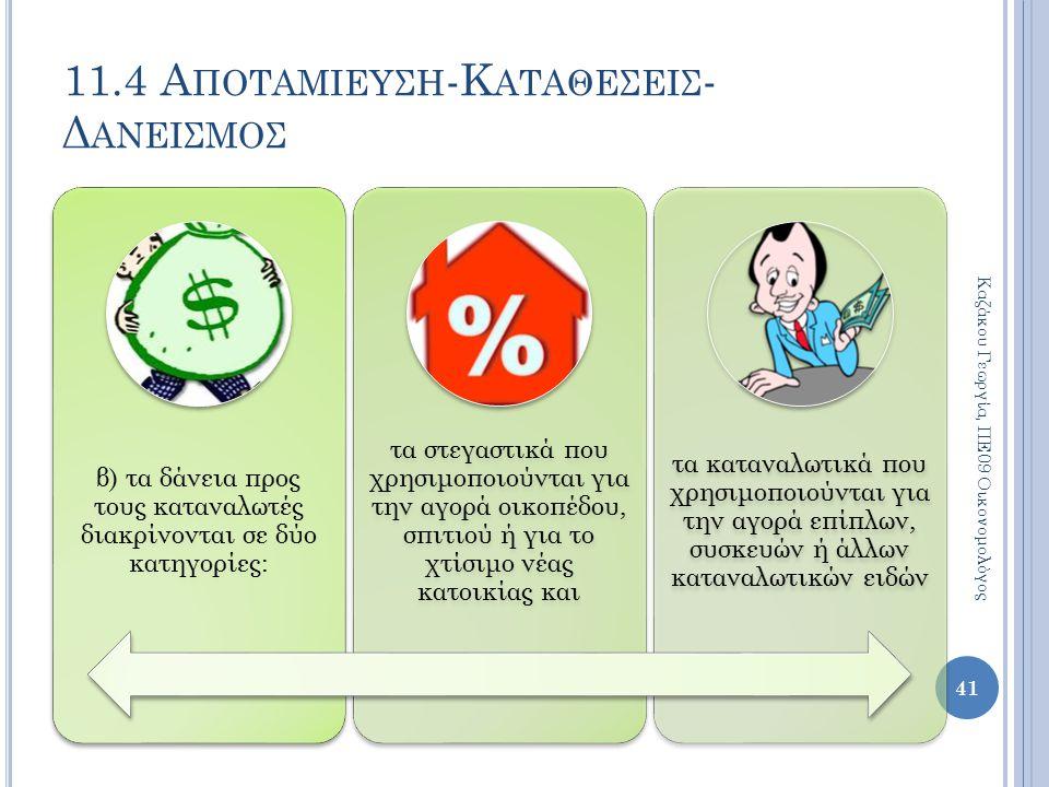 11.4 Α ΠΟΤΑΜΙΕΥΣΗ -Κ ΑΤΑΘΕΣΕΙΣ - Δ ΑΝΕΙΣΜΟΣ 41 Καζάκου Γεωργία, ΠΕ09 Οικονομολόγος β) τα δάνεια προς τους καταναλωτές διακρίνονται σε δύο κατηγορίες: