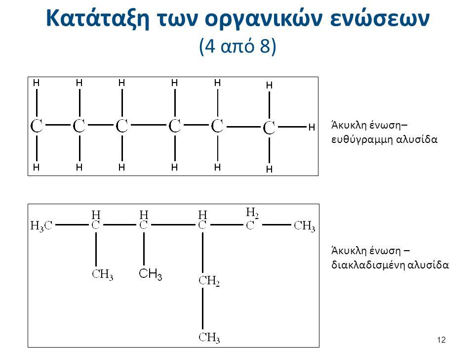 Κατάταξη των οργανικών ενώσεων (4 από 8) Άκυκλη ένωση– ευθύγραμμη αλυσίδα Άκυκλη ένωση – διακλαδισμένη αλυσίδα 12