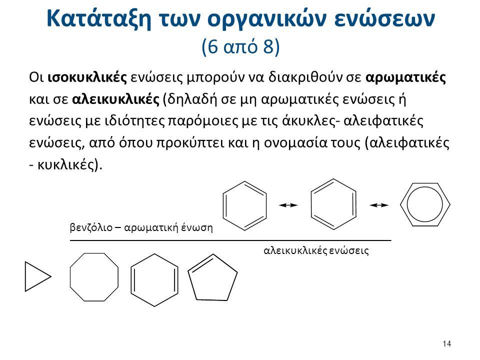 Κατάταξη των οργανικών ενώσεων (6 από 8) Οι ισοκυκλικές ενώσεις μπορούν να διακριθούν σε αρωματικές και σε αλεικυκλικές (δηλαδή σε μη αρωματικές ενώσε