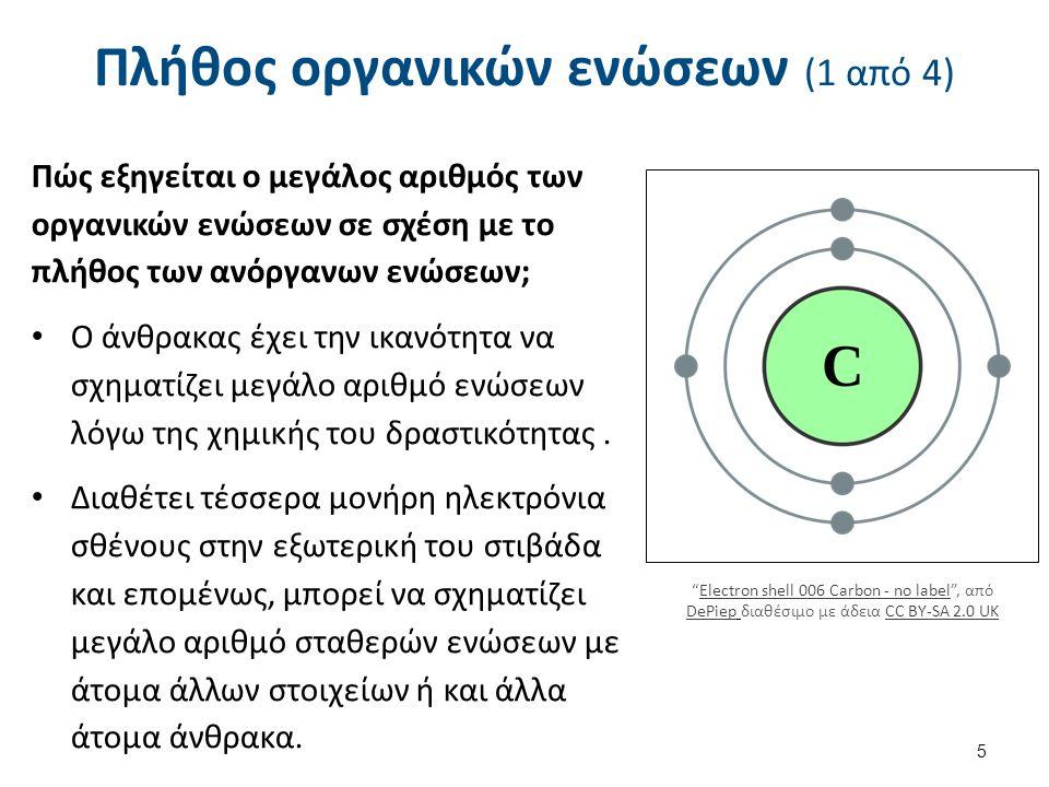 Πλήθος οργανικών ενώσεων (2 από 4) Ο άνθρακας, έχει την δυνατότητα να σχηματίζει απλούς, διπλούς και τριπλούς ομοιοπολικούς δεσμούς με άλλα άτομα άνθρακα, οπότε δημιουργούνται κορεσμένες ή ακόρεστες ενώσεις αντίστοιχα.
