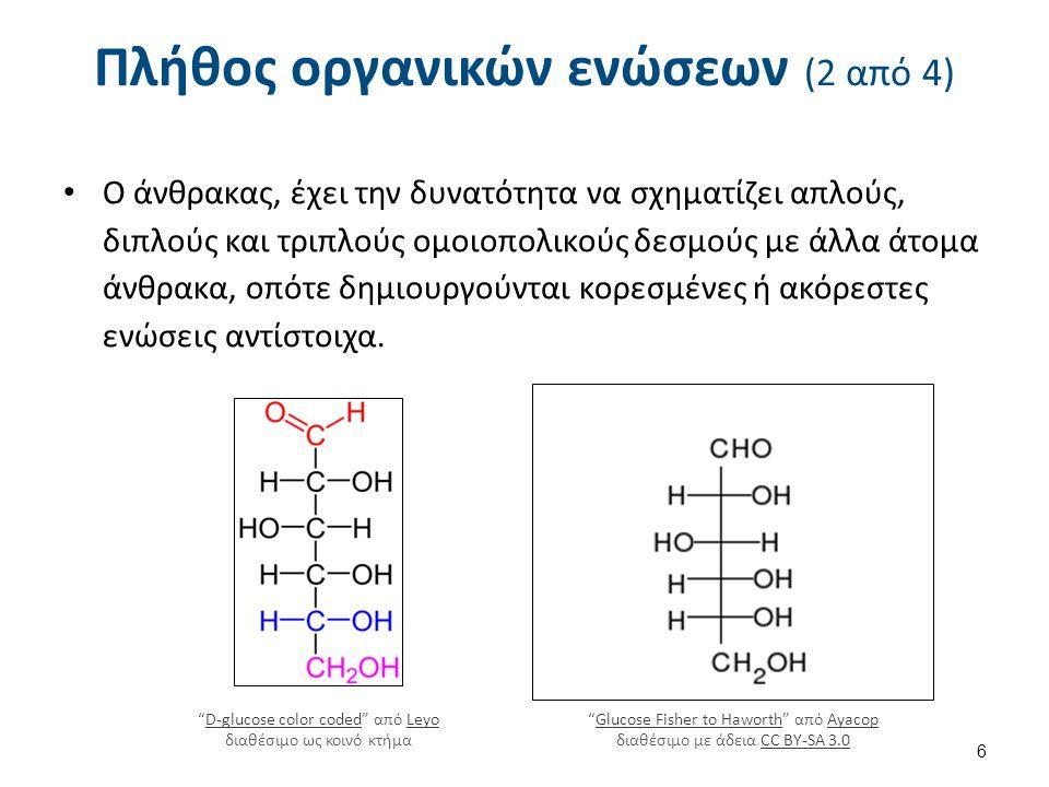 Πλήθος οργανικών ενώσεων (3 από 4) Τα άτομα του άνθρακα μπορούν να ενώνονται μεταξύ τους σχηματίζοντας ευθύγραμμες, διακλαδισμένες, ανοικτές ή κλειστές αλυσίδες (δακτυλίους) ή και συνδυασμούς.