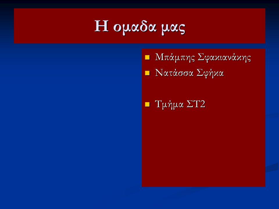 Η ομαδα μας Μπάμπης Σφακιανάκης Νατάσσα Σφήκα Τμήμα ΣΤ2