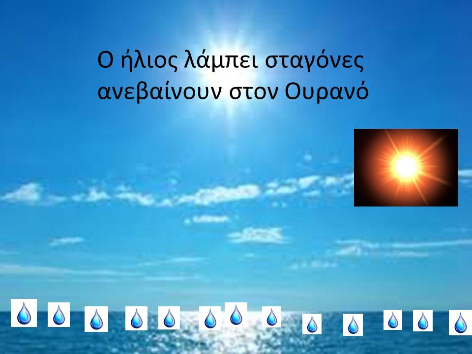 Ο ήλιος λάμπει σταγόνες ανεβαίνουν στον Ουρανό