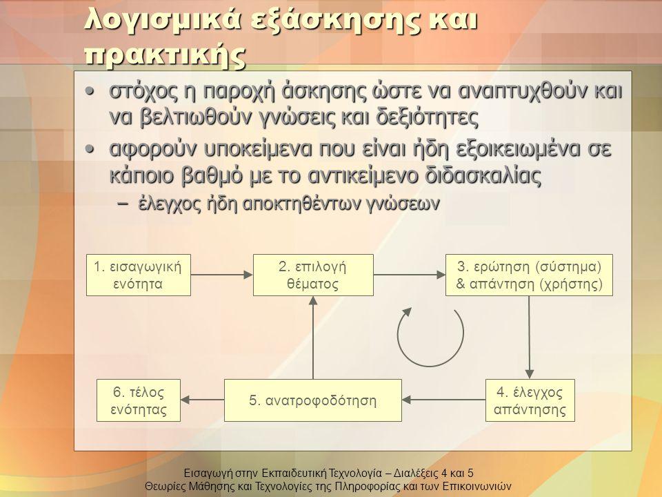 Εισαγωγή στην Εκπαιδευτική Τεχνολογία – Διαλέξεις 4 και 5 Θεωρίες Μάθησης και Τεχνολογίες της Πληροφορίας και των Επικοινωνιών λογισμικά εξάσκησης και