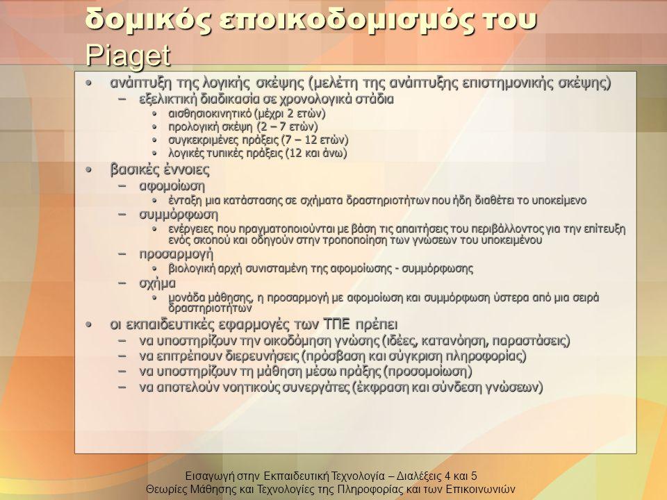 Εισαγωγή στην Εκπαιδευτική Τεχνολογία – Διαλέξεις 4 και 5 Θεωρίες Μάθησης και Τεχνολογίες της Πληροφορίας και των Επικοινωνιών δομικός εποικοδομισμός