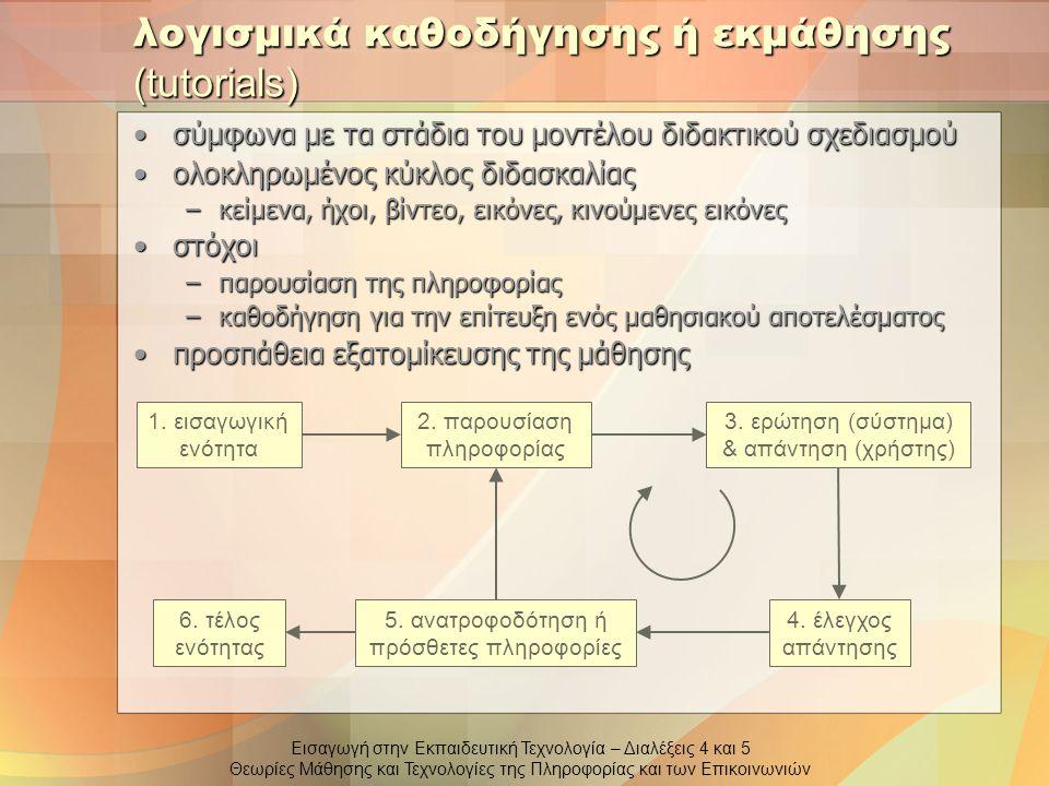 Εισαγωγή στην Εκπαιδευτική Τεχνολογία – Διαλέξεις 4 και 5 Θεωρίες Μάθησης και Τεχνολογίες της Πληροφορίας και των Επικοινωνιών λογισμικά εξάσκησης και πρακτικής στόχος η παροχή άσκησης ώστε να αναπτυχθούν και να βελτιωθούν γνώσεις και δεξιότητεςστόχος η παροχή άσκησης ώστε να αναπτυχθούν και να βελτιωθούν γνώσεις και δεξιότητες αφορούν υποκείμενα που είναι ήδη εξοικειωμένα σε κάποιο βαθμό με το αντικείμενο διδασκαλίαςαφορούν υποκείμενα που είναι ήδη εξοικειωμένα σε κάποιο βαθμό με το αντικείμενο διδασκαλίας –έλεγχος ήδη αποκτηθέντων γνώσεων 1.