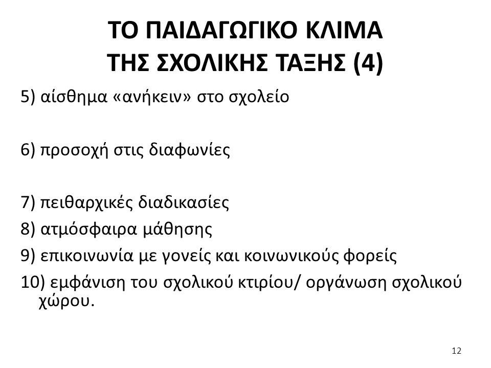 ΤΟ ΠΑΙΔΑΓΩΓΙΚΟ ΚΛΙΜΑ ΤΗΣ ΣΧΟΛΙΚΗΣ ΤΑΞΗΣ (4) 5) αίσθημα «ανήκειν» στο σχολείο 6) προσοχή στις διαφωνίες 7) πειθαρχικές διαδικασίες 8) ατμόσφαιρα μάθησης 9) επικοινωνία με γονείς και κοινωνικούς φορείς 10) εμφάνιση του σχολικού κτιρίου/ οργάνωση σχολικού χώρου.