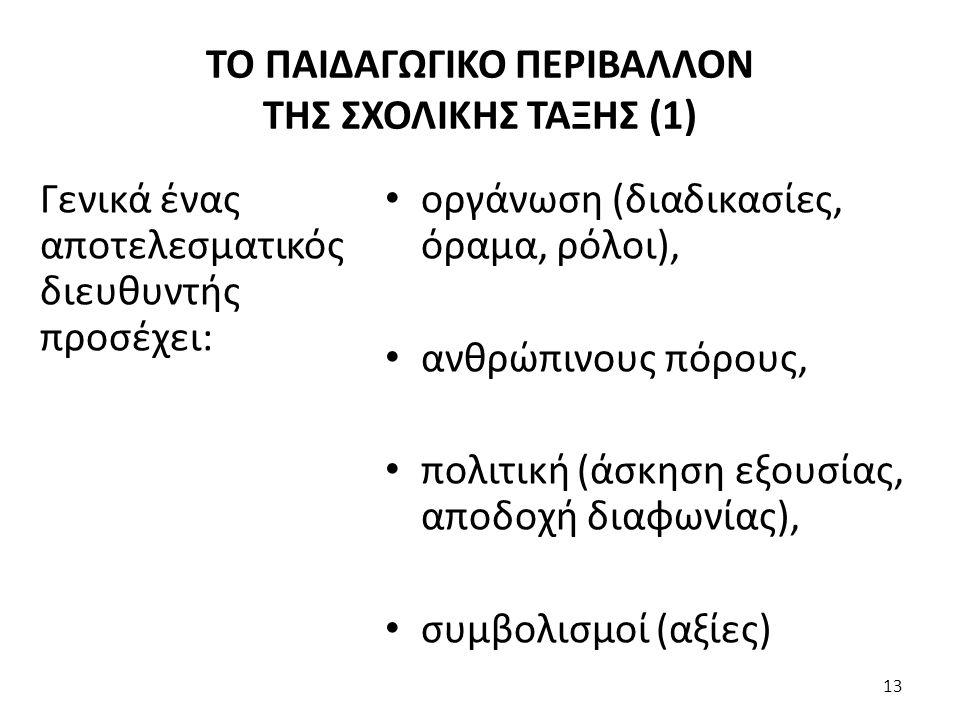 οργάνωση (διαδικασίες, όραμα, ρόλοι), ανθρώπινους πόρους, πολιτική (άσκηση εξουσίας, αποδοχή διαφωνίας), συμβολισμοί (αξίες) Γενικά ένας αποτελεσματικός διευθυντής προσέχει: 13 ΤΟ ΠΑΙΔΑΓΩΓΙΚΟ ΠΕΡΙΒΑΛΛΟΝ ΤΗΣ ΣΧΟΛΙΚΗΣ ΤΑΞΗΣ (1)