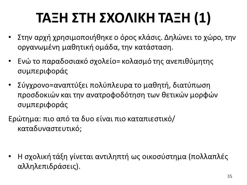 ΤΑΞΗ ΣΤΗ ΣΧΟΛΙΚΗ ΤΑΞΗ (2) Στη διατήρηση της τάξης (πειθαρχία) συμβάλλουν έξι παράγοντες: 1.
