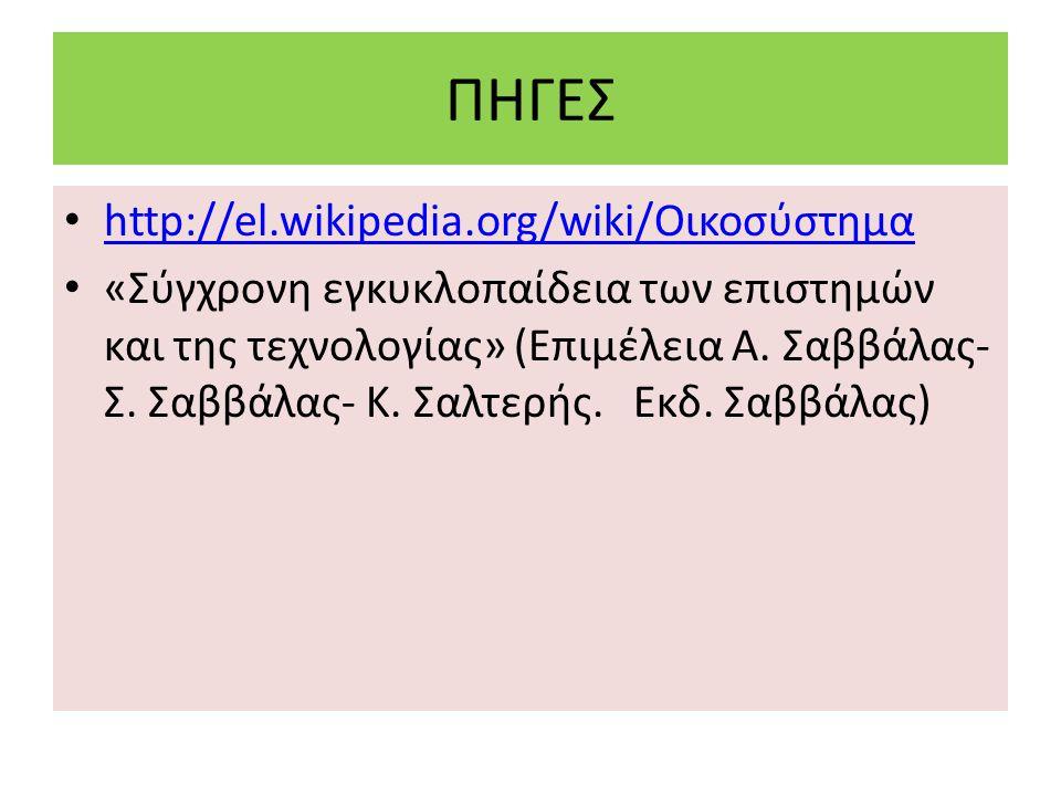ΠΗΓΕΣ http://el.wikipedia.org/wiki/Οικοσύστημα http://el.wikipedia.org/wiki/Οικοσύστημα «Σύγχρονη εγκυκλοπαίδεια των επιστημών και της τεχνολογίας» (Ε