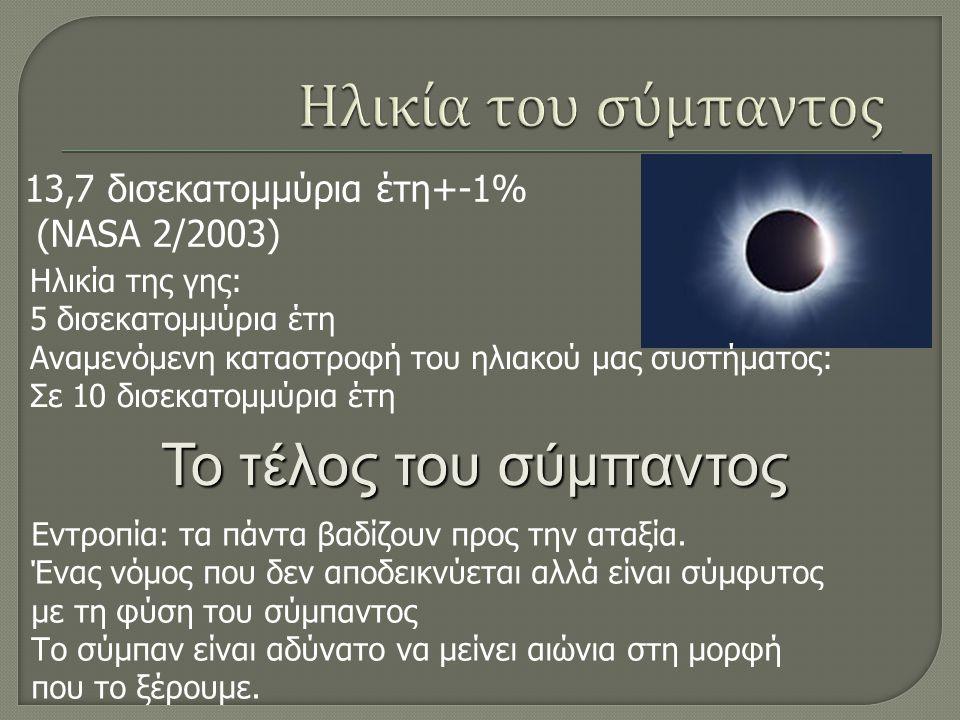 13,7 δισεκατομμύρια έτη+-1% (NASA 2/2003) Ηλικία της γης: 5 δισεκατομμύρια έτη Αναμενόμενη καταστροφή του ηλιακού μας συστήματος: Σε 10 δισεκατομμύρια έτη Το τέλος του σύμπαντος Εντροπία: τα πάντα βαδίζουν προς την αταξία.