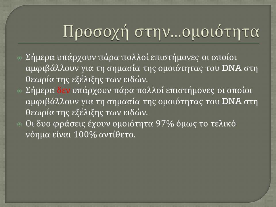  Σήμερα υπάρχουν πάρα πολλοί επιστήμονες οι οποίοι αμφιβάλλουν για τη σημασία της ομοιότητας του DNA στη θεωρία της εξέλιξης των ειδών.