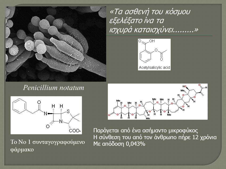 Penicillium notatum Το Νο 1 συνταγογραφούμενο φάρμακο Παράγεται από ένα ασήμαντο μικροφύκος Η σύνθεση του από τον άνθρωπο πήρε 12 χρόνια Με απόδοση 0,043% «Tα ασθενή του κόσμου εξελέξατο ίνα τα ισχυρά καταισχύνει.........»