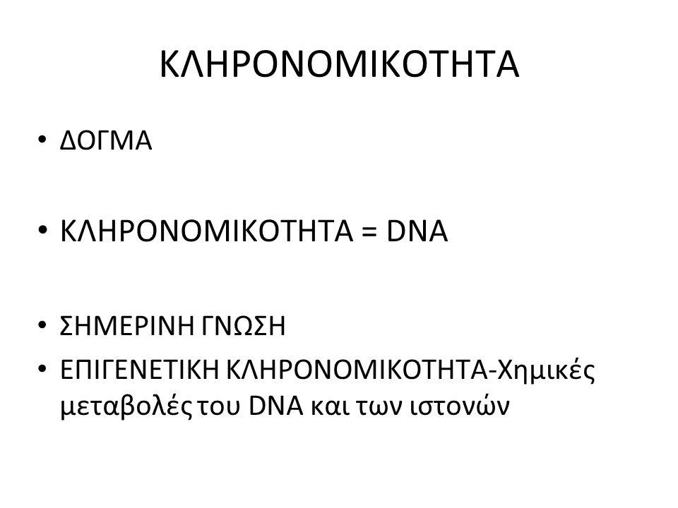 ΚΛΗΡΟΝΟΜΙΚΟΤΗΤΑ ΔΟΓΜΑ ΚΛΗΡΟΝΟΜΙΚΟΤΗΤΑ = DNA ΣΗΜΕΡΙΝΗ ΓΝΩΣΗ ΕΠΙΓΕΝΕΤΙΚΗ ΚΛΗΡΟΝΟΜΙΚΟΤΗΤΑ-Χημικές μεταβολές του DNA και των ιστονών