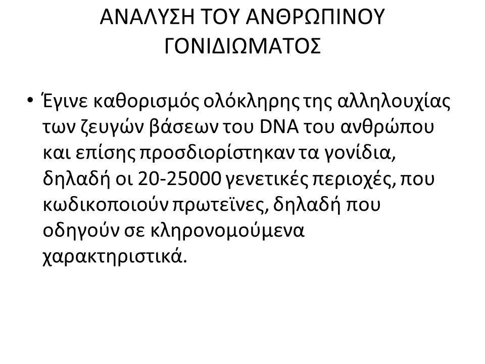 ΑΝΑΛΥΣΗ ΤΟΥ ΑΝΘΡΩΠΙΝΟΥ ΓΟΝΙΔΙΩΜΑΤΟΣ Έγινε καθορισμός ολόκληρης της αλληλουχίας των ζευγών βάσεων του DNA του ανθρώπου και επίσης προσδιορίστηκαν τα γο