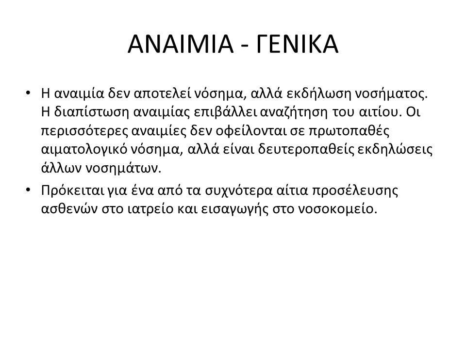 ANAIMIA - ΓΕΝΙΚΑ Η αναιμία δεν αποτελεί νόσημα, αλλά εκδήλωση νοσήματος. Η διαπίστωση αναιμίας επιβάλλει αναζήτηση του αιτίου. Οι περισσότερες αναιμίε