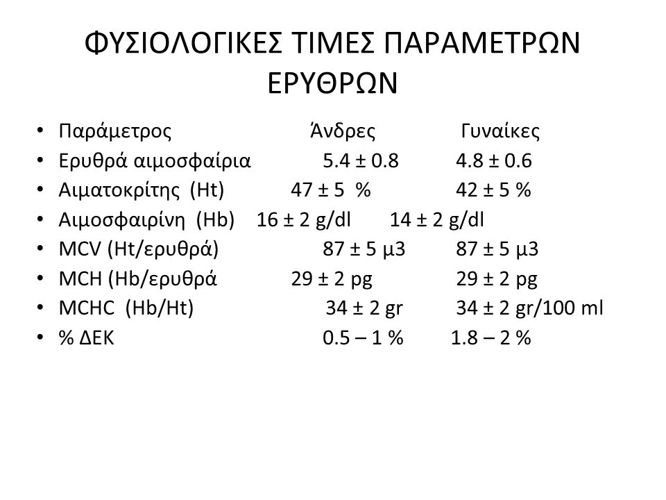 ΦΥΣΙΟΛΟΓΙΚΕΣ ΤΙΜΕΣ ΠΑΡΑΜΕΤΡΩΝ ΕΡΥΘΡΩΝ Παράμετρος Άνδρες Γυναίκες Ερυθρά αιμοσφαίρια 5.4 ± 0.8 4.8 ± 0.6 Αιματοκρίτης (Ht) 47 ± 5 % 42 ± 5 % Αιμοσφαιρί