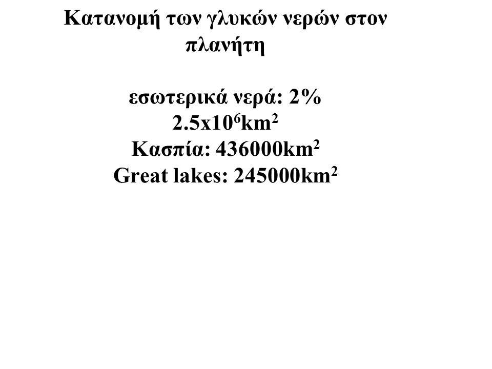 Κατανομή των γλυκών νερών στον πλανήτη εσωτερικά νερά: 2% 2.5x10 6 km 2 Κασπία: 436000km 2 Great lakes: 245000km 2