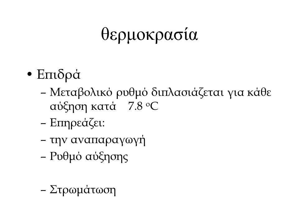 θερμοκρασία Επιδρά –Μεταβολικό ρυθμό διπλασιάζεται για κάθε αύξηση κατά 7.8 ο C –Επηρεάζει: –την αναπαραγωγή –Ρυθμό αύξησης –Στρωμάτωση