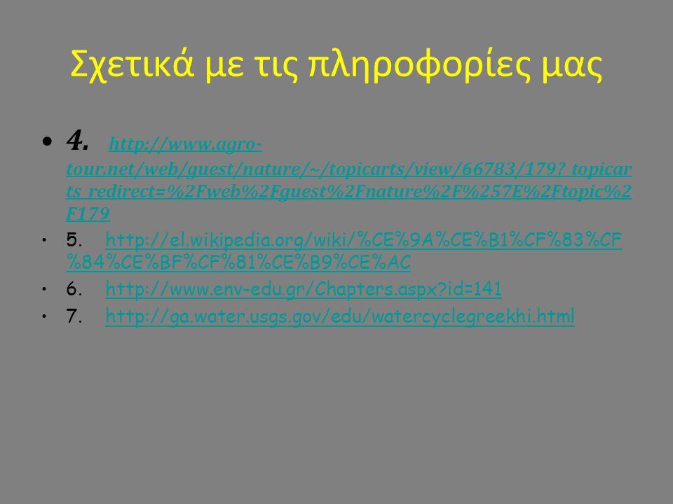 Σχετικά με τις πληροφορίες μας 4. http://www.agro- tour.net/web/guest/nature/~/topicarts/view/66783/179?_topicar ts_redirect=%2Fweb%2Fguest%2Fnature%2