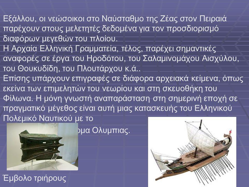 Εξάλλου, οι νεώσοικοι στο Ναύσταθμο της Ζέας στον Πειραιά παρέχουν στους μελετητές δεδομένα για τον προσδιορισμό διαφόρων μεγεθών του πλοίου. Η Αρχαία