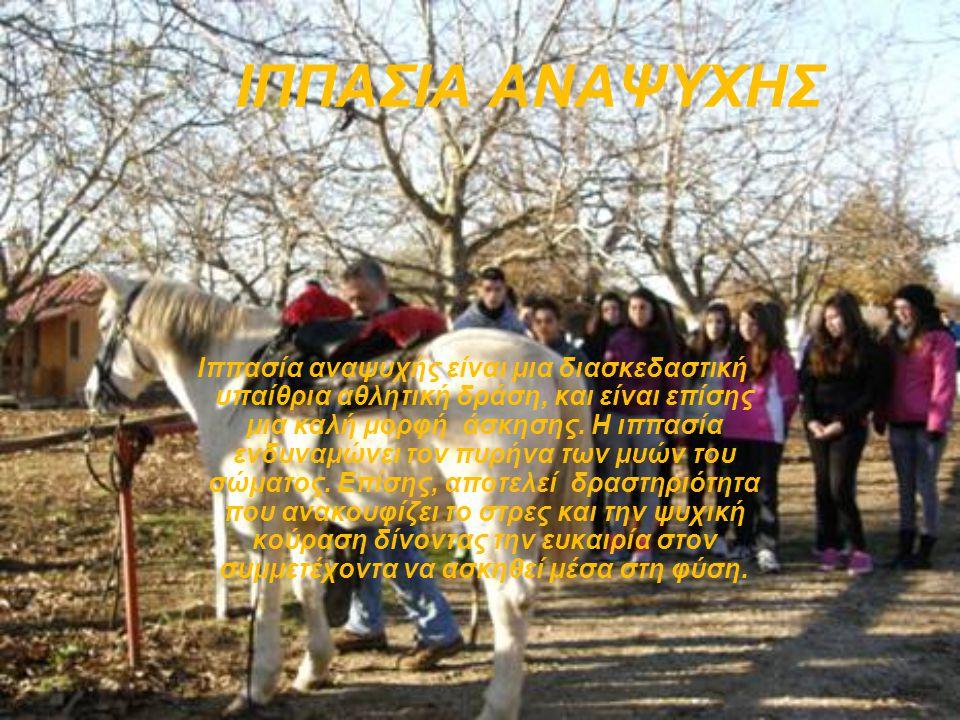 ΙΠΠΑΣΙΑ ΑΝΑΨΥΧΗΣ Ιππασία αναψυχής είναι μια διασκεδαστική υπαίθρια αθλητική δράση, και είναι επίσης μια καλή μορφή άσκησης.