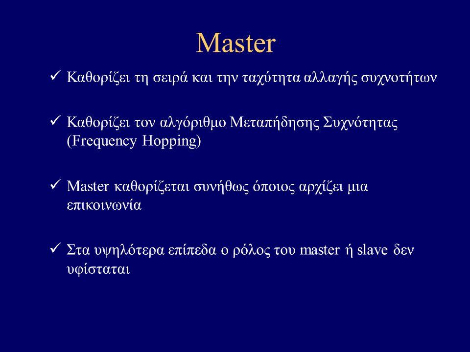 Master Καθορίζει τη σειρά και την ταχύτητα αλλαγής συχνοτήτων Καθορίζει τον αλγόριθμο Μεταπήδησης Συχνότητας (Frequency Hopping) Master καθορίζεται συνήθως όποιος αρχίζει μια επικοινωνία Στα υψηλότερα επίπεδα ο ρόλος του master ή slave δεν υφίσταται