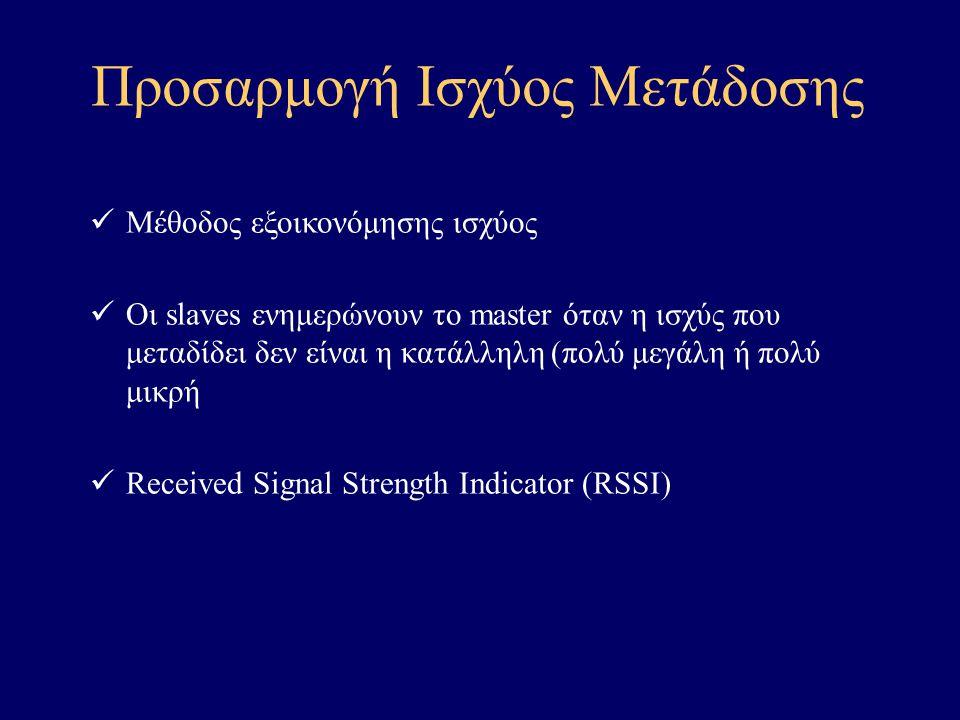 Προσαρμογή Ισχύος Μετάδοσης Μέθοδος εξοικονόμησης ισχύος Οι slaves ενημερώνουν το master όταν η ισχύς που μεταδίδει δεν είναι η κατάλληλη (πολύ μεγάλη ή πολύ μικρή Received Signal Strength Indicator (RSSI)