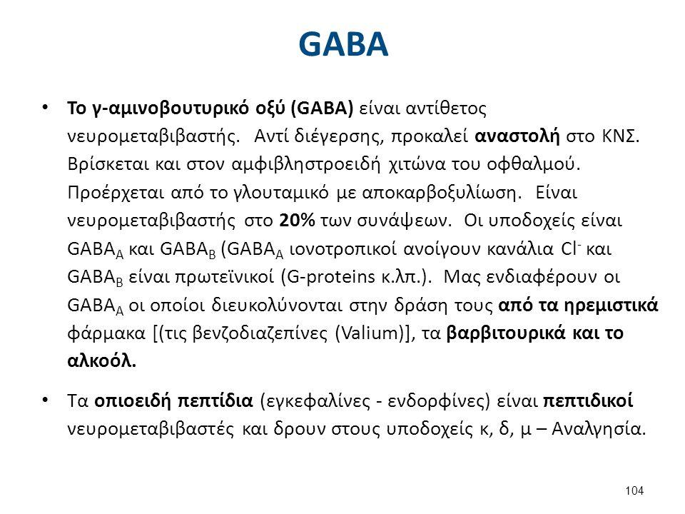 GABA Το γ-αμινοβουτυρικό οξύ (GABA) είναι αντίθετος νευρομεταβιβαστής. Αντί διέγερσης, προκαλεί αναστολή στο ΚΝΣ. Βρίσκεται και στον αμφιβληστροειδή χ