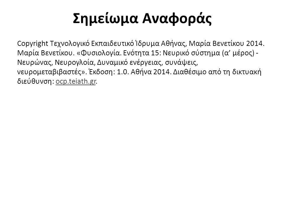 Σημείωμα Αναφοράς Copyright Τεχνολογικό Εκπαιδευτικό Ίδρυμα Αθήνας, Μαρία Βενετίκου 2014. Μαρία Βενετίκου. «Φυσιολογία. Ενότητα 15: Νευρικό σύστημα (α