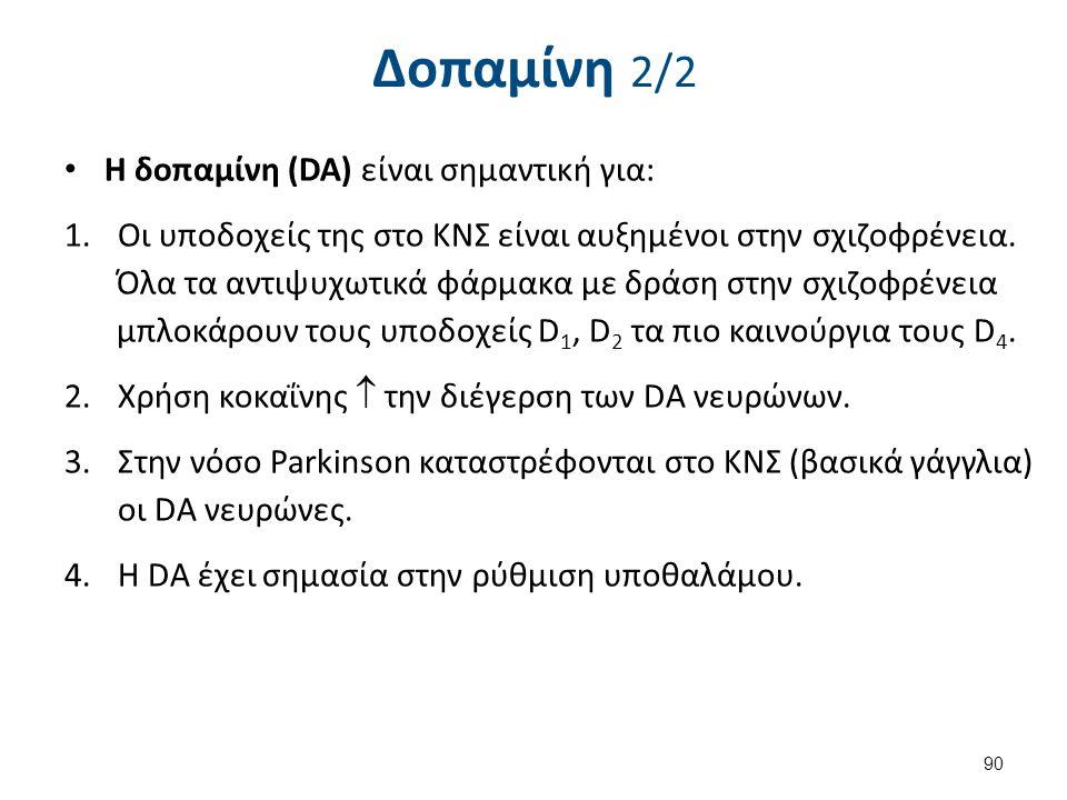Δοπαμίνη 2/2 Η δοπαμίνη (DA) είναι σημαντική για: 1.Οι υποδοχείς της στο ΚΝΣ είναι αυξημένοι στην σχιζοφρένεια. Όλα τα αντιψυχωτικά φάρμακα με δράση σ