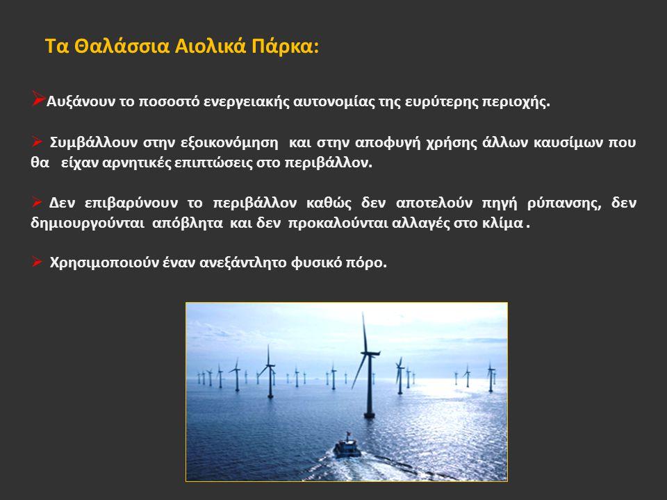 Τα Θαλάσσια Αιολικά Πάρκα:  Αυξάνουν το ποσοστό ενεργειακής αυτονομίας της ευρύτερης περιοχής.
