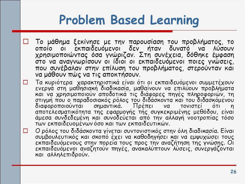 26 Problem Based Learning  Το μάθημα ξεκίνησε με την παρουσίαση του προβλήματος, το οποίο οι εκπαιδευόμενοι δεν ήταν δυνατό να λύσουν χρησιμοποιώντας