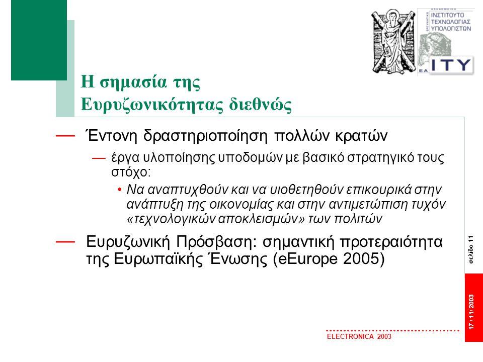 σελίδα 11 17 / 11/ 2003 ELECTRONICA 2003 Η σημασία της Ευρυζωνικότητας διεθνώς — Έντονη δραστηριοποίηση πολλών κρατών —έργα υλοποίησης υποδομών με βασικό στρατηγικό τους στόχο: Να αναπτυχθούν και να υιοθετηθούν επικουρικά στην ανάπτυξη της οικονομίας και στην αντιμετώπιση τυχόν «τεχνολογικών αποκλεισμών» των πολιτών — Ευρυζωνική Πρόσβαση: σημαντική προτεραιότητα της Ευρωπαϊκής Ένωσης (eEurope 2005)