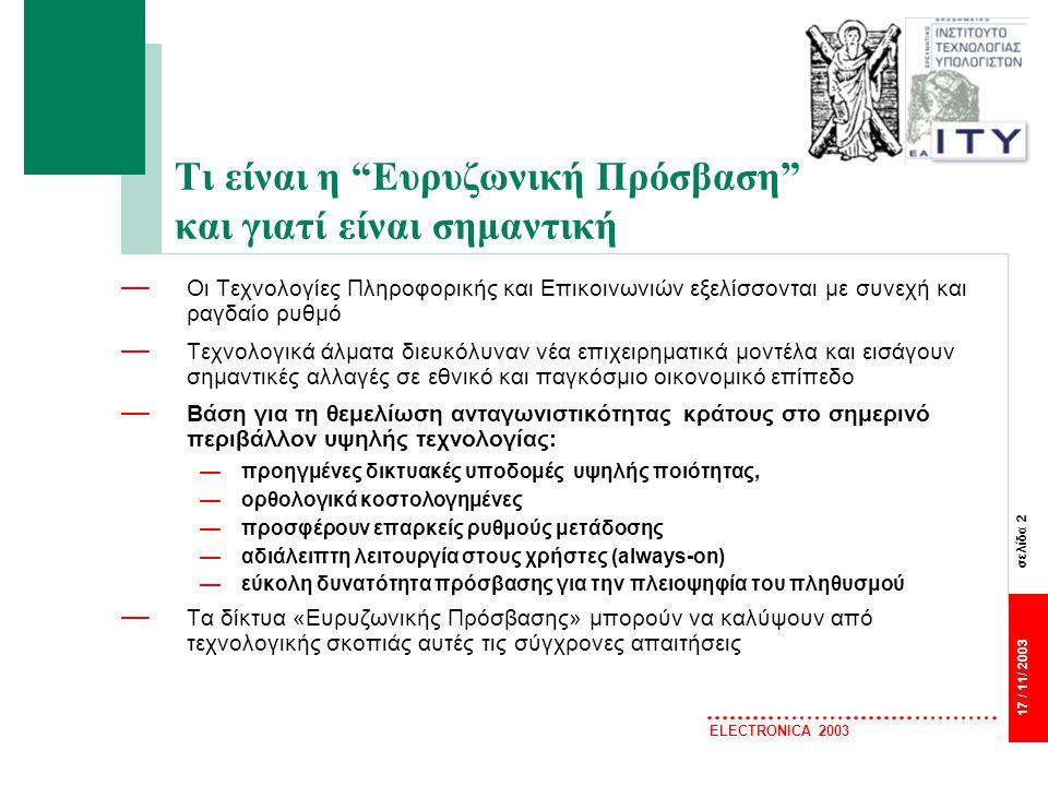 σελίδα 23 17 / 11/ 2003 ELECTRONICA 2003 eEurope 2005 An information society for all — Βασικές αρχές και κατευθύνσεις της νέας αυτής πρωτοβουλίας αποτελούν η ενθάρρυνση ασφαλών υπηρεσιών, εφαρμογών και περιεχομένου που βασίζονται σε ευρέως διαθέσιμες ευρυζωνικές υποδομές.