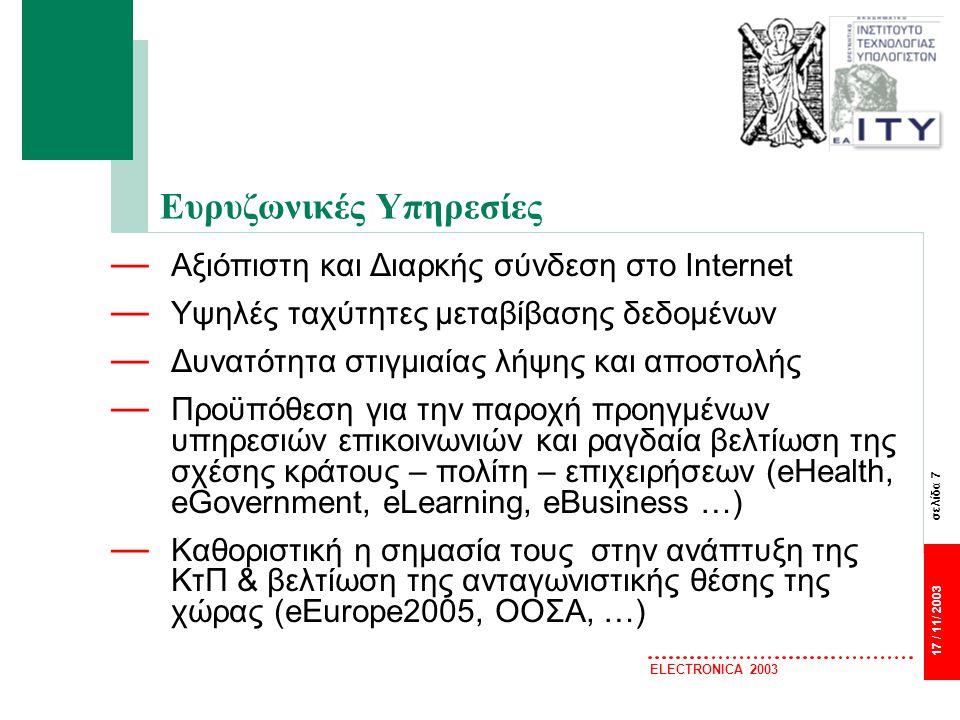 σελίδα 8 17 / 11/ 2003 ELECTRONICA 2003 Οι Ευρυζωνικές Υπηρεσίες απαιτούν αντίστοιχες υποδομές — Ευρυζωνικές Υπηρεσίες διατίθεται στην Ευρώπη μέσω υφιστάμενων υποδομών Χάλκινα καλώδια τηλεφωνίας-Τεχνολογία DSL (σχεδόν σε όλη την ΕΕ) Ενσύρματα τηλεοπτικά Δίκτυα (CableTV-Βέλγιο/Ολλανδία 90% διείσδυση) — Μπορούν καλύτερα να παρέχονται μέσω νέων υποδομών Οπτικές Ίνες – υψηλή ταχύτητα – απόκριση - ποιότητα – κλιμακωσιμότητα Κινητά 3ης Γενιάς (3G mobile phones) (διαθεσιμότητα) on-line παντού Σταθερά Ασύρματα Δίκτυα (Fixed Wireless) – ευελιξία σύνδεσης Δορυφορικά Συστήματα (Satelite) – τεράστια κάλυψη/ δυσπρόσιτες περιοχές — Μελλοντικά ανάλογα με το μοντέλο ανάπτυξης Ευρυζωνικής Υποδομής θα συνυπάρχουν διάφορες τεχνολογίες – συμπληρωματικότητα — Για την κάλυψη αναγκών σημαντικού αριθμού χρηστών από υπάρχουσες υποδομές, αναγκαία η υποστήριξη από κεντρικό δίκτυο (δίκτυο κορμού – Backbone) ή διασυνδεόμενα περιφερειακά πολύ υψηλής χωρητικότητας και ταχύτητας — Η κατεξοχήν λύση: δίκτυα οπτικών ινών + πρόσβαση xDSL, FTTH με data enabled backbone and converged edge (▼κόστος/bit)