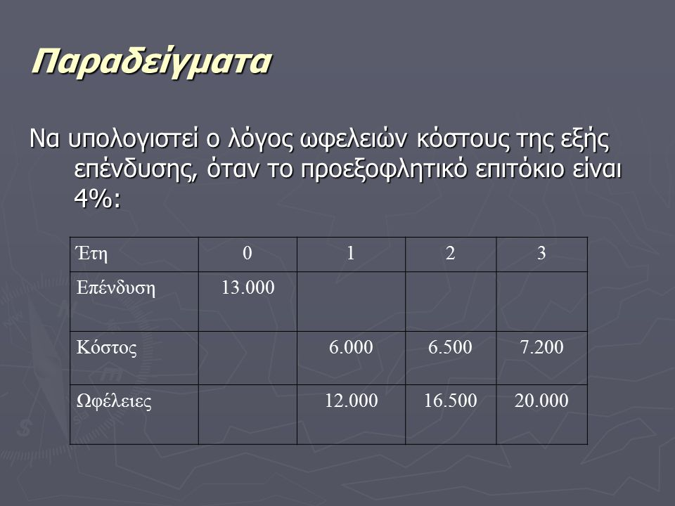 Παραδείγματα Να υπολογιστεί ο λόγος ωφελειών κόστους της εξής επένδυσης, όταν το προεξοφλητικό επιτόκιο είναι 4%: Έτη0123 Επένδυση13.000 Κόστος6.0006.5007.200 Ωφέλειες12.00016.50020.000