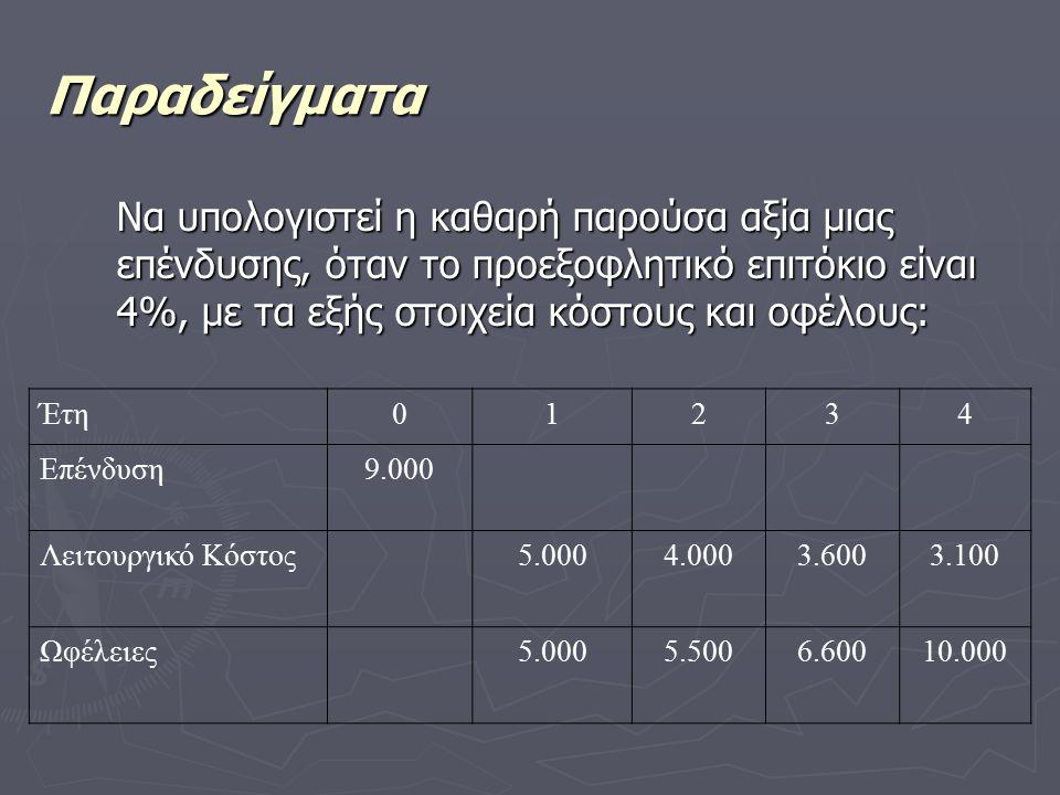 Παραδείγματα Να υπολογιστεί η καθαρή παρούσα αξία μιας επένδυσης, όταν το προεξοφλητικό επιτόκιο είναι 4%, με τα εξής στοιχεία κόστους και οφέλους: Έτη01234 Επένδυση9.000 Λειτουργικό Κόστος5.0004.0003.6003.100 Ωφέλειες5.0005.5006.60010.000