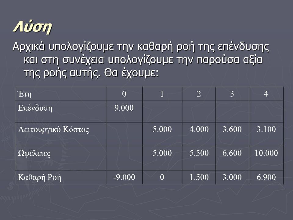 Λύση Αρχικά υπολογίζουμε την καθαρή ροή της επένδυσης και στη συνέχεια υπολογίζουμε την παρούσα αξία της ροής αυτής.
