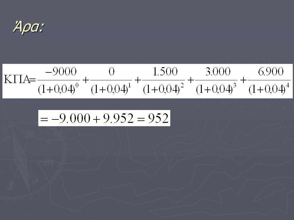 Εσωτερικός Συντελεστής Απόδοσης Ο Εσωτερικός Συντελεστής Απόδοσης (ΕΣΑ) είναι το επιτόκιο εκείνο που εξισώνει την ΚΠΑ με μηδέν, δηλαδή το επιτόκιο για το οποίο τα προεξοφλημένα οφέλη ισούνται με το προεξοφλημένο κόστος.