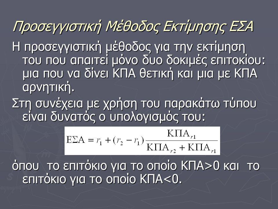 Προσεγγιστική Μέθοδος Εκτίμησης ΕΣΑ Η προσεγγιστική μέθοδος για την εκτίμηση του που απαιτεί μόνο δυο δοκιμές επιτοκίου: μια που να δίνει ΚΠΑ θετική και μια με ΚΠΑ αρνητική.