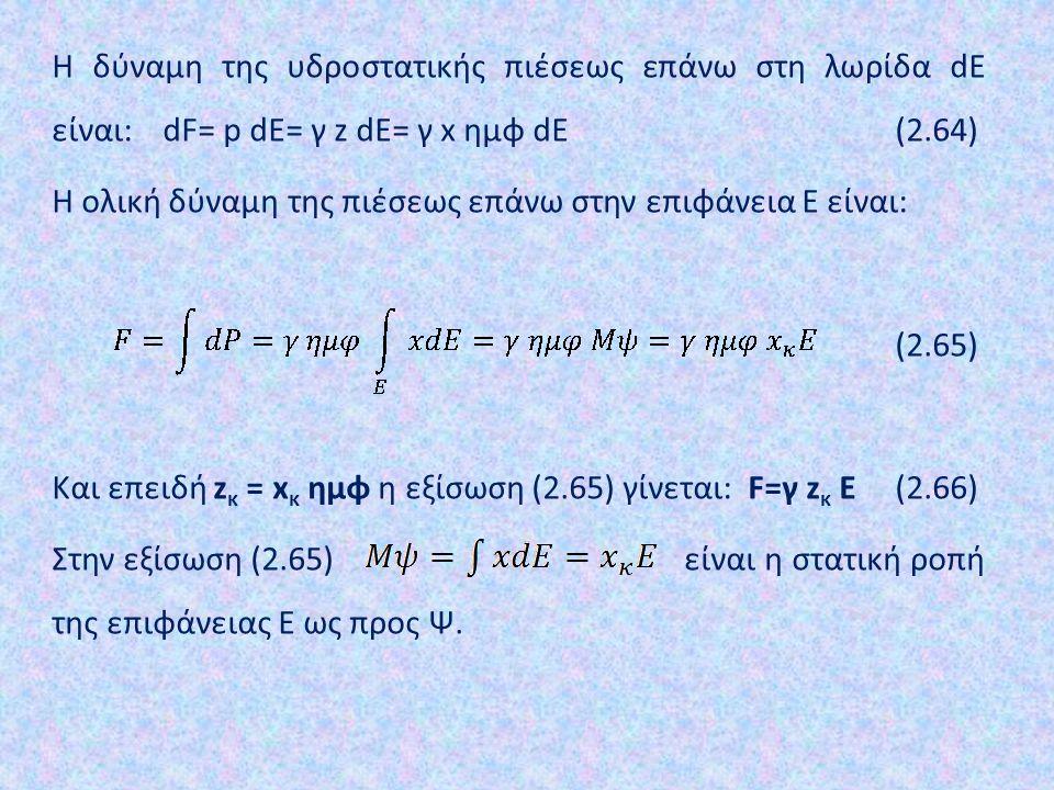 Η δύναμη της υδροστατικής πιέσεως επάνω στη λωρίδα dE είναι: dF= p dE= γ z dE= γ x ημφ dE (2.64) Η ολική δύναμη της πιέσεως επάνω στην επιφάνεια Ε είν