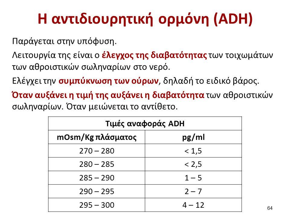 Η αντιδιουρητική ορμόνη (ADH) Παράγεται στην υπόφυση. Λειτουργία της είναι ο έλεγχος της διαβατότητας των τοιχωμάτων των αθροιστικών σωληναρίων στο νε