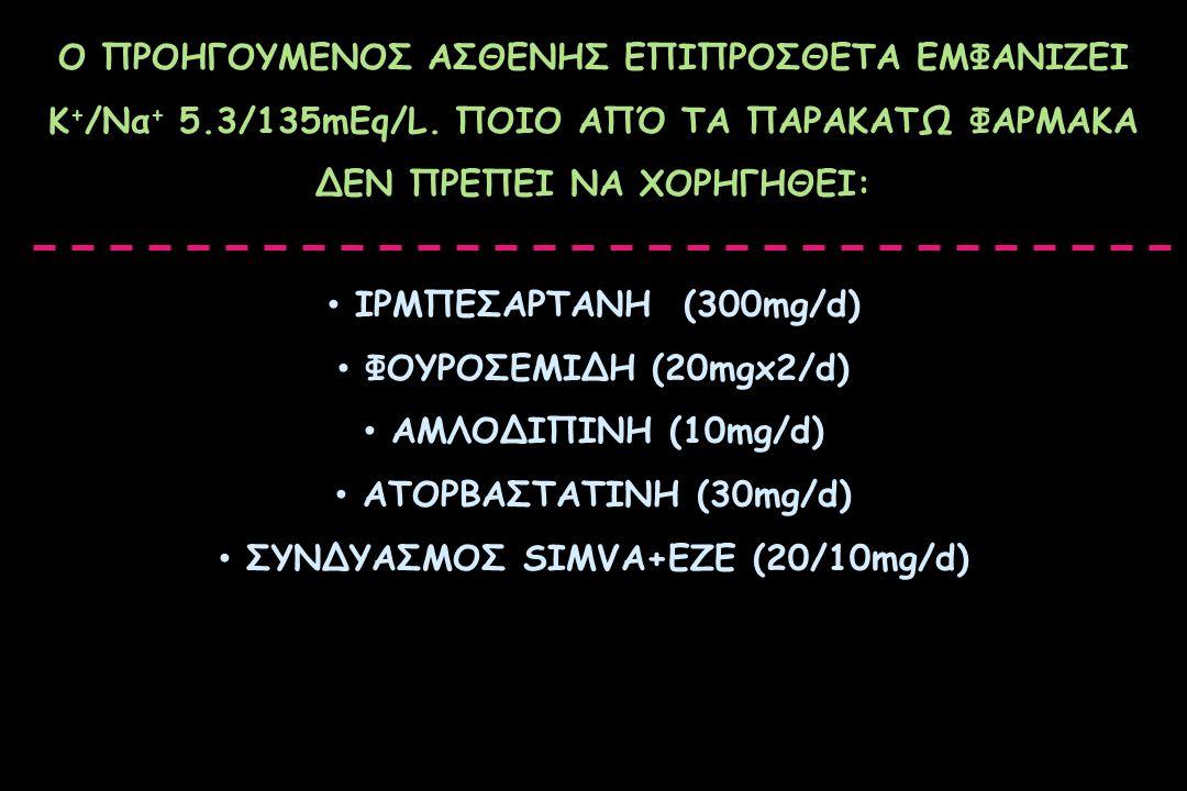 Ο ΠΡΟΗΓΟΥΜΕΝΟΣ ΑΣΘΕΝΗΣ ΕΠΙΠΡΟΣΘΕΤΑ ΕΜΦΑΝΙΖΕΙ Κ + /Να + 5.3/135mEq/L. ΠΟΙΟ ΑΠΌ ΤΑ ΠΑΡΑΚΑΤΩ ΦΑΡΜΑΚΑ ΔΕΝ ΠΡΕΠΕΙ ΝΑ ΧΟΡΗΓΗΘΕΙ: ΙΡΜΠΕΣΑΡΤΑΝΗ (300mg/d) ΦΟΥΡ