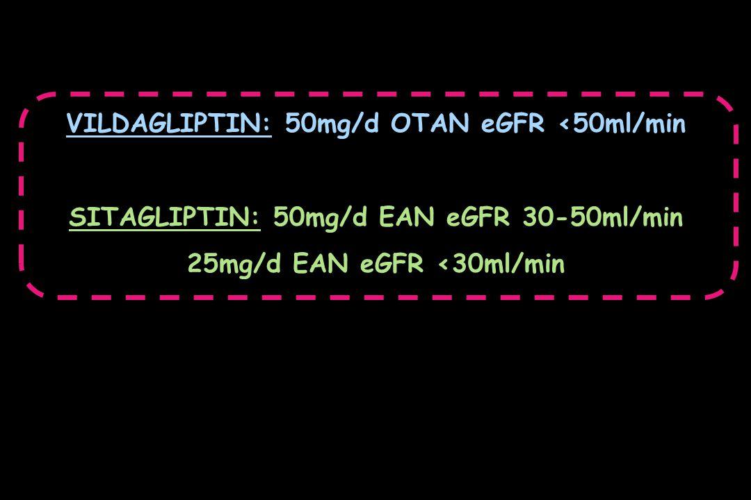 VILDAGLIPTIN: 50mg/d OTAN eGFR <50ml/min SITAGLIPTIN: 50mg/d ΕΑΝ eGFR 30-50ml/min 25mg/d ΕΑΝ eGFR <30ml/min